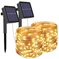 2 12 LED Fairy Lights Outdoor Waterproof Copper Wire 120 Mode Solar Fairy Lights Decoration for Garden, Balcony, Patio, Gate, Yard, Wedding, Party (Warm White)