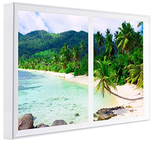 Ccretroiluminados spiaggia con palme cuadros decorativos finestre falsas con luce, legno, multicolore, 100x 80x 6.5cm