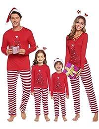 Sykooria Pijamas De Navidad Familia Conjunto Algodón Ropa de Dormir para Hombres Mujeres Niños Niña Pijama 2 Piezas Pantalón Raya y Top de Manga Larga