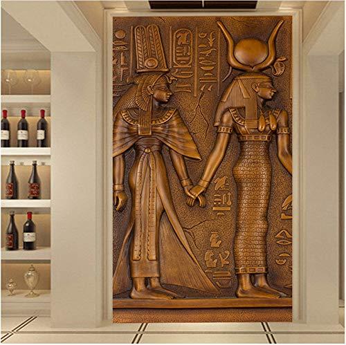 XCMB Tapete-europäische Art-Weinlese-ägyptische König-Königin-Skulptur der Tapete-3D geprägte Foto-Wandtapete-Hotel Hall-Wohnzimmer-Eingangstapete-120cmx100cm -