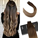 Ugeat 40cm #4/6/613 Brun avec Blonde Balayage Tape in Cheveux Extensions 50g/20pcs PU...