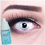 Farbige Kontaktlinsen Mirror grau + 60ml Pflegemittel + Behälter - Funnylens Markenqualität, 1Paar (2 Stück) farbige lenses perfekt zu Halloween, Karneval, Fasching oder Fastnacht