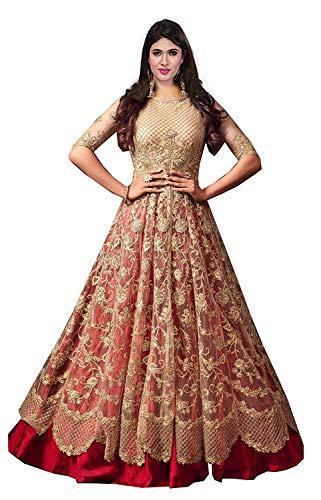 Generic Women's Net Floor Length Anarkali Gown (cred, Cream, Free Size)