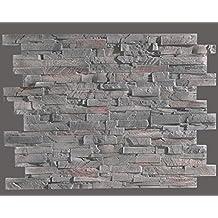 Idea - Paneles de piedra regenerada decorativos, en color gris.