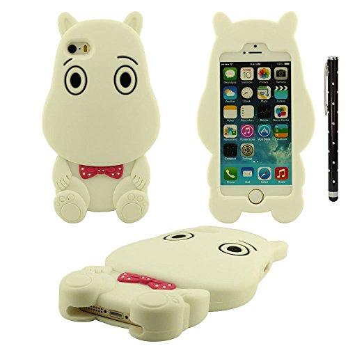 Apple iPhone 5 SE 5S 5C Coque Housse de Protection, silicone Ultra Doux Souple Type d'animal Type Petit Hippopotame Shape Beau Case avec stylet Blanc
