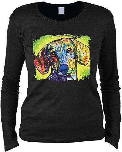 DACHSHUND Dackel - Langarm Damen Shirt - Druck Pop Art Style Schwarz