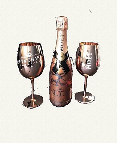 Moet Chandon N.I.R. Nectar Imperial 0,75l 12% Vol Set + 2x Echtglas Kupfer Gläser