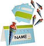 Unbekannt Bastelset: 6 Stück Tischkarten / Platzkarten -  Schultüte  - blau für Jungen & Mädchen - gestalten zum Schulanfang & Schuleinführung - Party Karte Schulbegi..