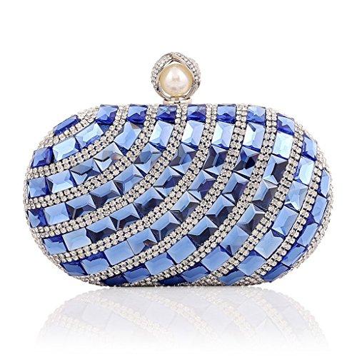 ERGEOB® Damen Luxus Diamant Clutch Glas Kristall Abendtasche Handgelenkstaschen für Event Hochzeit Theater alle Partys Blau Blau