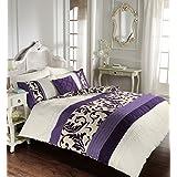 Lujo Edredón Impreso Funda Nórdica de Juego de ropa de cama con funda de almohada, 50% algodón/50% poliéster, SCROLL PURPLE, matrimonio grande