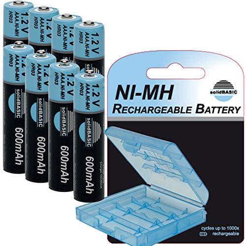 solidBASIC NI-MH Micro Akku AAA 600mAh / 1.2V Rechargeable Wiederaufladbar + Aufbewahrungsbox/Batterie-Box - 8er