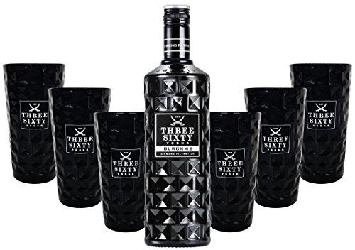 Three Sixty Black 42 Vodka 70cl (42{09578c525db40302b5e964e1323bb89d90a25c1b666b45ab58dead3bbd603d3f} Vol) + 6x Black Longdrink-Gläser schwarz -[Enthält Sulfite]