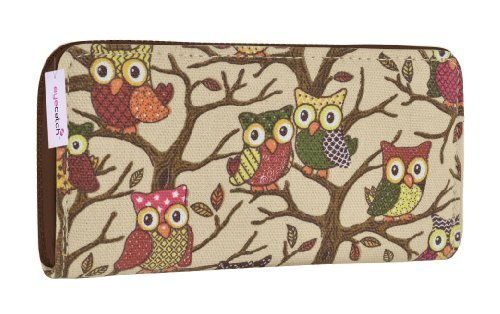Eye Catch - Porte feuille pochette canvas imprimé hibou - Femme