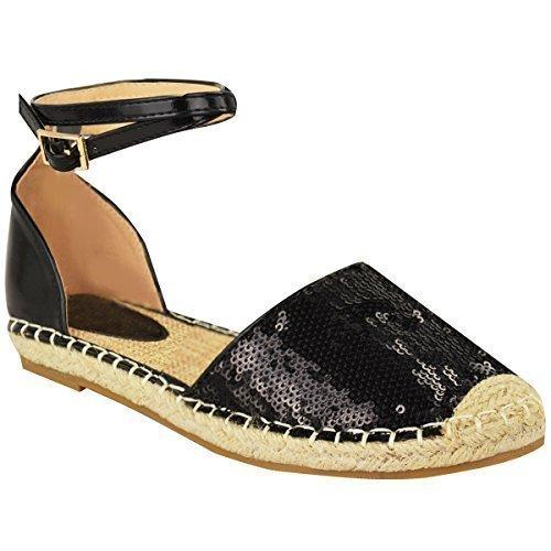 Nouveauté Femmes Été Espadrilles Sandales Plates Bride Cheville Holiday Taille De Chaussure Paillettes Noires / Verni