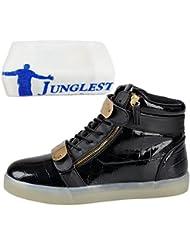 (Présents:petite serviette)JUNGLEST® 7 couleurs Changement USB de recharge Chaussures LED Light-Up Clignotant Sport High Top Sneakers lumineux