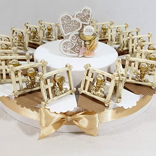 Torta bomboniera comunione femmina maschio confetti crispo oggetti immagine sacra della comunione (torta 20 fette + 20 libri + 1 centrale + confetti)