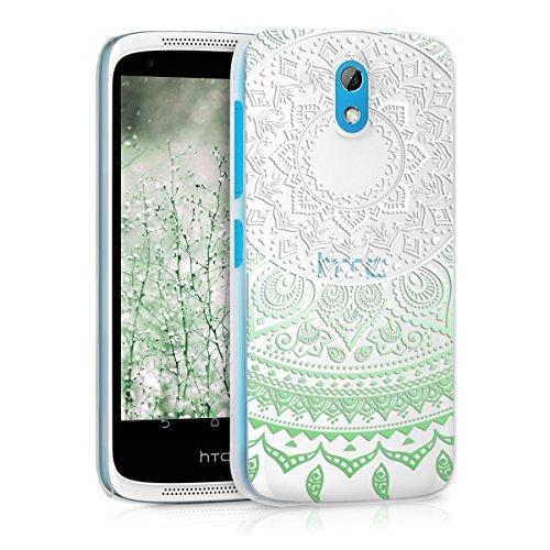 kwmobile HTC Desire 526G Hülle - Handyhülle für HTC Desire 526G - Handy Case in Mintgrün Weiß Transparent