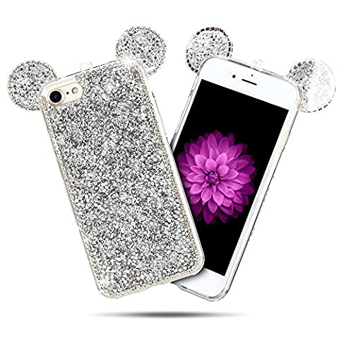 Coque iPhone 7 (5.0 pouce) , Bling Diamant Modèle TPU Case Gris Argent Crystal Mignon Mickey Oreille Étui de Protection Flexible Soft Slim Souple Silicone Cover Anti Choc Ultra Mince Couverture Bumper Caoutchouc Gel Anfire Housse pour iPhone 7