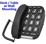 Big Button Phone – Hands free Speaker-phone – Amplified Handset - Desk / Table, or Wall Mounted - 10 Phone Number Memory & Last Number Redial (Ideal: Impaired Vision / Reduced Hearing) (Black) image