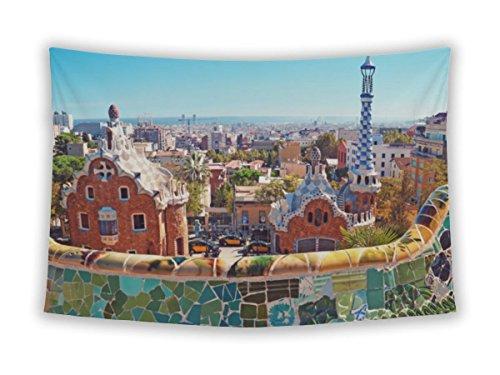Gear Neue Mauer Stickset für Schlafzimmer Aufhängen Art Decor College Wohnheim Bohemian, Barcelona Spanien Large, 80 inches Wide by 68 inches Tall Parc Guell Barcelona Spain (Keramik-kreuz Kleine)