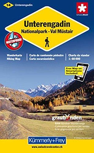 Preisvergleich Produktbild Wanderkarte Unterengadin 1 : 60 000, wasserfest. Engiadina Bassa, Nationalpark Val Müstair (Kümmerly+Frey Wanderkarten)