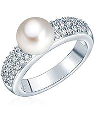 Valero Pearls - Bague - Perles de culture d'eau douce - Argent sterling 925 - Bijoux de perles oxyde de zirconium - Bijoux pour femmes - En plusieurs tailles, bague oxyde de zirconium - 60201417
