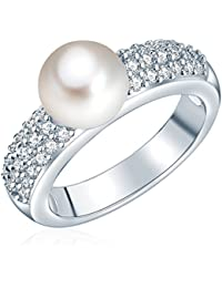 Valero Pearls Damen-Ring Silver Collection 925 Sterling Silber Süßwasser-Zuchtperlen Weiß 60201417