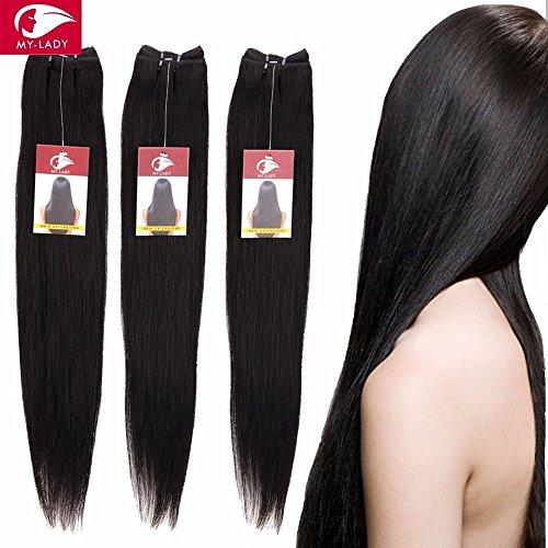 25cm-60cm extension capelli veri tessitura peruviani extension matassa lisci remy human hair vergini 100g/bundle, 60cm, 1b# nero naturale