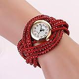 Damen-Armbanduhr, Lederarmband, mehrlagig, Kristall-Armband, modisch, Quarzuhr Free Size rot