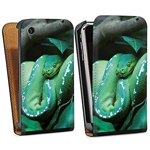 Apple iPhone 5 Housse étui coque protection Serpent Serpent Reptile Sac Downflip noir