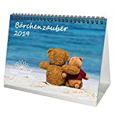Bärchenzauber · DIN A5 · Premium Kalender/Tischkalender 2019 · Teddy · Bär · Bärchen · Stofftier · Plüschtier · Geschenk-Set mit 1 Grußkarte und 1 Weihnachtskarte · Edition Seelenzauber