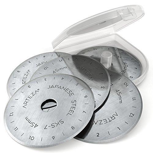ARTEZA Rollschneider-Klingen, 45 mm Ersatzklingen für Rollmesser, Set mit 12 Stoffschneider-Klingen, hochwertiger SKS-7 Wolfram-Stahl, zum Nähen und Quilten