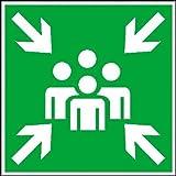 Inter Flower - Rettungszeichen SAMMELSTELLE - Warnschild - Erste Hilfe - 20 x 20 cm - PVC/Plastik - grün - Arbeitsschutz - Warnzeichen Kunststoffschild - Arbeitsplatz - Betrieb - Schutz