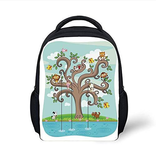 Kids School Backpack Kids,Tree of Life Cartoon Art Monkey Doggy Bunny Bee Kitten Roosterken Birds Fishing Print Decorative, Plain Bookbag Travel Daypack