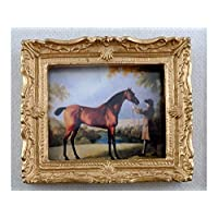 Melody Jane Dolls House Miniature Accessory Horse & Trainer Picture Painting Gold Frame