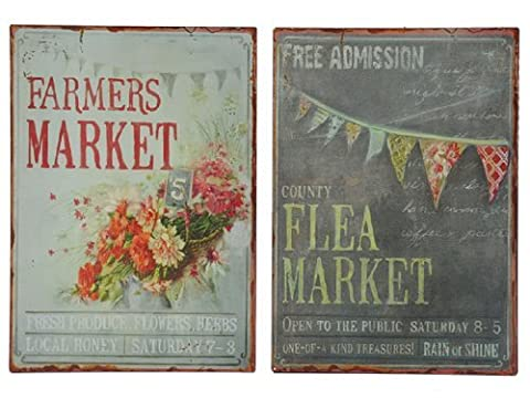 Set of 2 Two Shabby Chic Metal Wall Plaque Vintage Style Flea Farmers Market by MaxJam