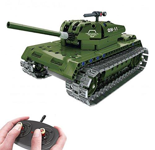 Modbrix Bausteine 2,4 Ghz RC Panzer Ferngesteuert, Konstruktionsspielzeug mit 453 Bauteilen, Kompatibel mit L*go Technik