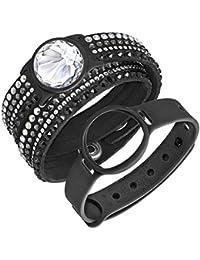 Swarovski Damen-Armband Activity Tracker Edelstahl Stoff weiß Kristall 36 cm - 522582