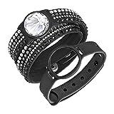 Swarovski Damen-Armband Activity Tracker Edelstahl Stoff Weiß Kristall 36 cm - 5225826