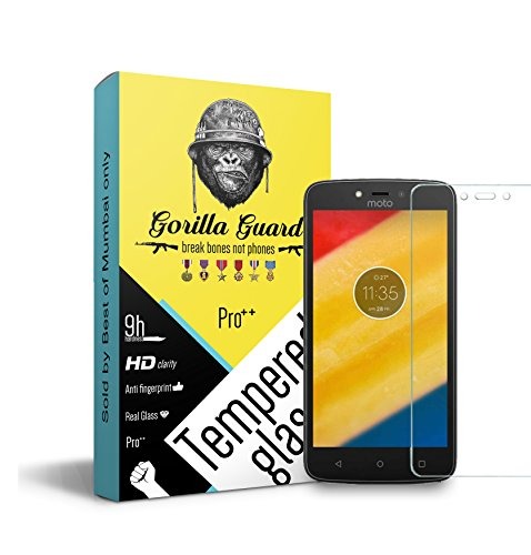 Gorilla guard's Pro series tempered glass for Moto C Plus with HD+ ultra clear edge to edge 9H hardness, UV protect & anti-smudge technology TEMPERED glass phone protector