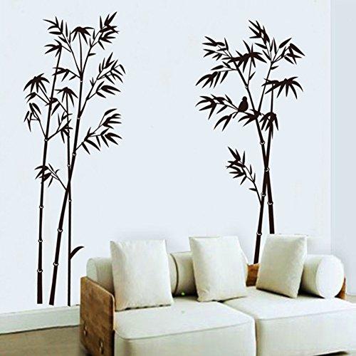 Wallpark classico nero bambù removibile adesivi murali adesivi da parete, soggiorno camera da letto casa diy arte decorativo adesivo murale
