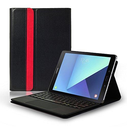 Sharon Samsung Galaxy Tab S3 9.7 Bluetooth Tastatur Schutztasche mit herausnehmbarer Bluetooth Tastatur und integriertem Multitouch-Touchpad | Deutsches QWERTZ - Layout | Keyboard Case für Galaxy S3 9.7 SM-T820 (WiFi), SM T825 (3G/LTE)