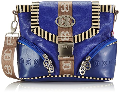poodlebag® Damen German Couture-Piping-Nienstedten Umhängetaschen, Blau (Blue), 25x11x20 cm 3GC0115NIENB