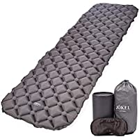 JÖKEL Sleeping Mat Ultralight Inflatable Camping Mattress, Comfortable Roll Mats, Grey Lightweight Compact Air Pad, Portable & Folding Inflating Single Bed, Perfect for Hiking Bag Hammock Tent & Backpacking