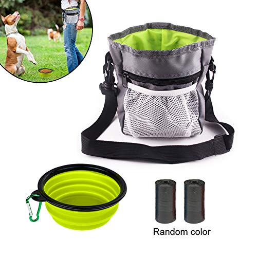 Dog Treat Bag Walking Bag mit Poop Bag Holder Zusammenklappbarer Silikon Dog Water Bowl Verstellbarer Gürtel und Schultergurt zum Tragen von Hundefestlichkeiten, Spielzeug oder Schlüsseln (Grau) -