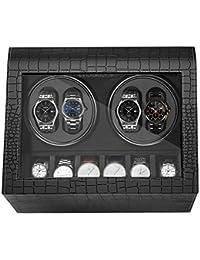 HBselect Remontoir Ecrin pour Montre Automatique 4+6-Noir,Remontoir à Montres Ecrins pour Montres Automatiques Boîte de Rangement,pour Montre Et Bijoux,Homme Femme