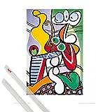 1art1® Affiche d'art + Suspension : Pablo Picasso Affiche d'art (50x40 cm) Nature Morte I Et Kit De Fixation Transparent