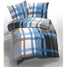Bettwäsche 155x220 Blau Weiß Gestreift