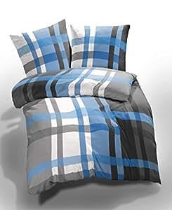 2 tlg. etérea Microfaser Seersucker Bettwäsche Urban Check Karo Kariert Gestreift Blau Grau Weiß, 135x200 cm + 80x80 cm