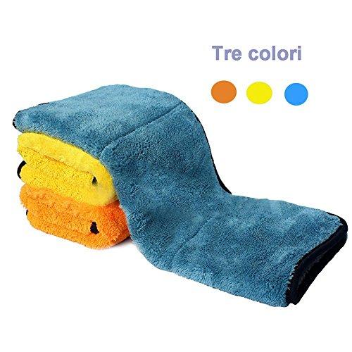 AeeYui Asciugamano per il lavaggio auto,Tovagliolo per auto in microfibra con assorbente incrociato eccellente per lavaggio auto, soffice spugna soffice a 3 set.